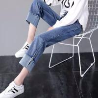 Lee Cooper 牛仔裤女新款直筒宽松显瘦薄款九分阔腿透气卷边减龄牛仔裤