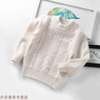 冬季儿童白色毛衣女童加厚纯山羊绒针织打底衫秋冬男童套头宝宝羊绒衫秋冬新款