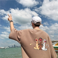 男士短袖T恤2018夏季新款港仔文艺圆领套头上衣休闲宽松衣服