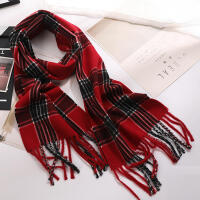 韩版秋冬季男女情侣仿羊绒格子围巾保暖拼色流苏亲子围脖短款英伦