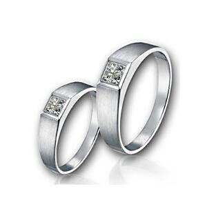 梦克拉 18K金钻石对戒 方镜  求婚戒女戒