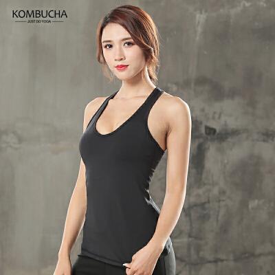 【女神特惠价】Kombucha瑜伽健身背心女士网纱拼接弹力速干含胸垫跑步运动紧身背心JCBX224 全场3折封顶【折上领券再享满减】