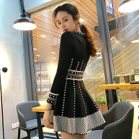 冬装新款韩版秋季中长连衣裙女加厚小香风针织长袖打底裙显瘦