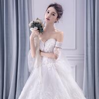 一字肩婚纱礼服2018新款新娘结婚欧美公主梦幻孕妇长拖尾婚纱 齐地婚纱
