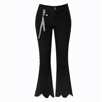 女裤2018春夏新款黑色微喇牛仔裤女九分高腰韩版弹力显瘦