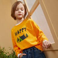 【4.5秒杀价:35】巴拉巴拉旗下巴帝巴帝2019年秋新品男童中大童基础打底衫童趣印花长袖T恤