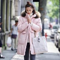 雅鹿保暖时尚大毛领中长款羽绒服女韩版修身显瘦冬装外套