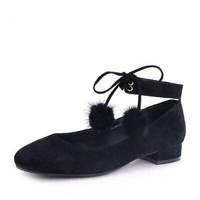 Belle/百丽2017秋时尚绑带羊绒皮低跟浅口女单鞋03013CQ7