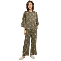 【网易严选3件3折】设计师款 女式深绿印花长袖套装