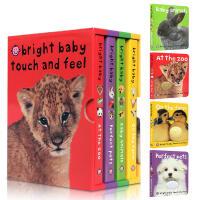 英文原版 Bright Baby Touch and Feel Boxed Set 低幼认知动物触摸书4册盒装合售单词