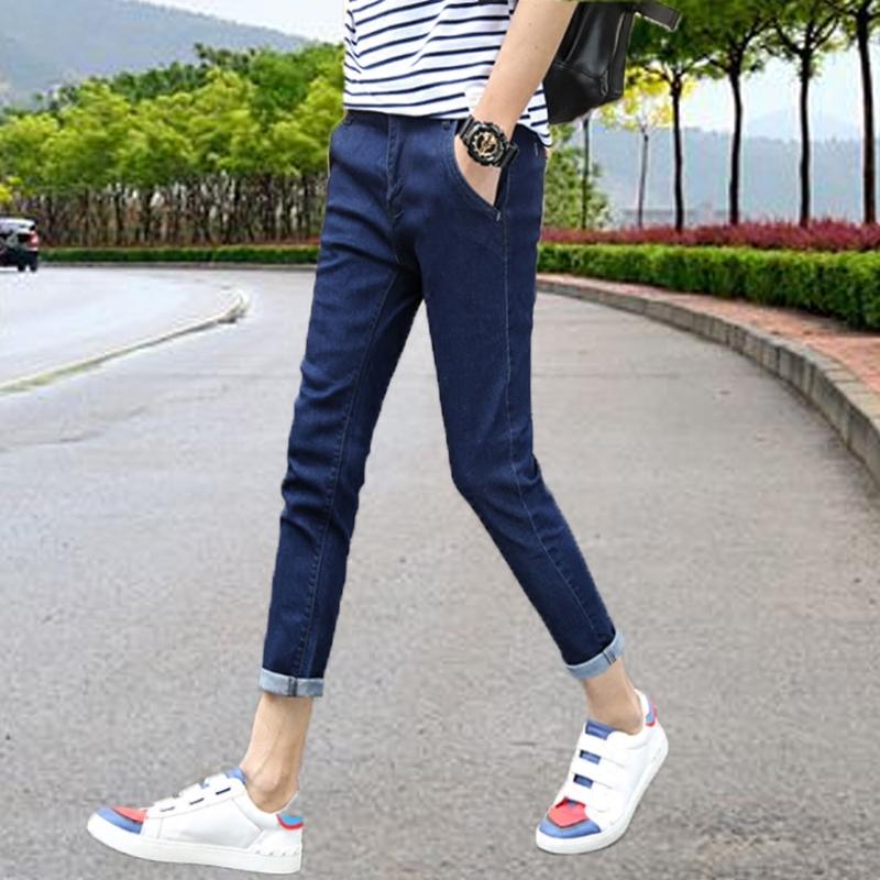 九分牛仔裤男士修身小脚哈伦弹力显瘦薄款裤子