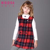 米奇丁当女童格子背心裙新品冬装儿童公主洋气保暖加厚背心裙