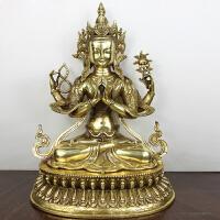 铜密宗佛像 藏传佛教用品 黄铜四臂观音 佛像摆件