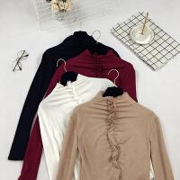 格格款 秋冬韩版气质女装打底衫长袖半高领木耳边修身T恤上衣E176