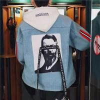 春季新款男士个性牛仔夹克韩版潮流学生嘻哈休闲时尚外套修身帅气