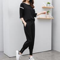 运动套装女士夏季新潮韩版宽松中袖休闲女装小脚裤两件套潮流