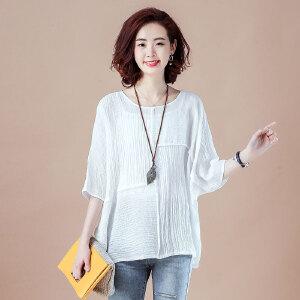 蝙蝠袖简约宽松大码女装上衣韩版拼接棉麻衬衫NRB11-713