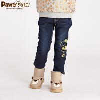 【秒杀价到手价:100】Pawinpaw宝英宝小熊童装冬季款女童加绒牛仔长裤