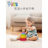 儿童彩虹套圈叠叠乐积木玩具幼儿木质叠叠高1-2-3岁宝宝益智早教
