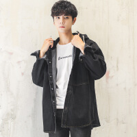 牛仔外套男宽松潮流韩版长袖夹克连帽青少年牛仔衣学生中长款风衣