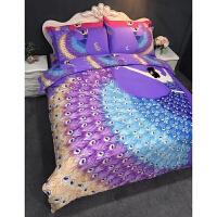 韩式加厚全棉磨毛四件套棉被套女孩卡通床上用品1.5m1.8m床单冬 浅灰色 轻歌曼舞紫色