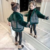 女童加绒外套2018新款韩版儿童大衣秋冬中大童洋气皮草毛毛衣冬装 绿色