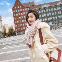 韩版加厚披肩围巾两用女冬季新款百搭长款毛线保暖围脖学生