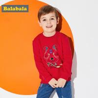 巴拉巴拉春秋新款男童儿童圆领套头衫小童宝宝卫衣童装韩版厚