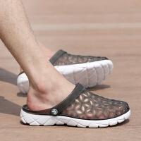 夏季男士洞洞鞋男休闲拖鞋沙滩鞋韩版潮流透气半拖鞋包头凉鞋子