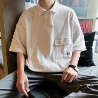 男士衬衫2018夏季新款韩版港风时尚POLO衫潮流休闲青少年宽松短袖