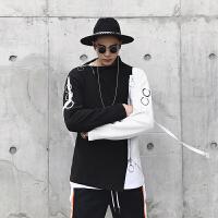 新款个性拉链装饰黑白撞色休闲卫衣夜店时尚铁环风飘带拼色套头衫