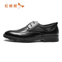 红蜻蜓男鞋正装皮鞋系带头层真牛皮尖头英伦男士潮鞋休闲商务皮鞋