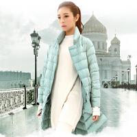 yaloo/雅鹿新款冬装时尚中长款轻薄羽绒服女装薄款外套