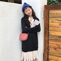 假两件连衣裙女气质名媛韩版学生针织拼雪纺卫衣裙配大衣的打底裙