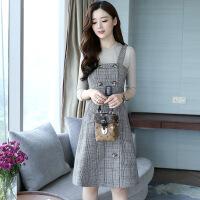 套装裙两件套秋冬韩版显瘦中长款背带裙格子长袖连衣裙春秋装新款