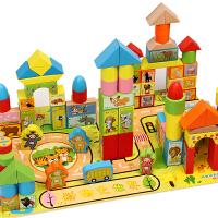 动物大块积木制桶装男女孩宝宝1-3-6岁儿童木头玩具