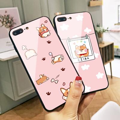 秋田犬苹果X手机壳iphone6新款Xs Max卡通X日韩ins同款8创意全包硬壳7女款7plus玻璃6plus小清新8P个性情侣套
