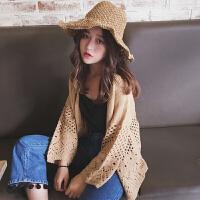 夏季女装韩版宽松镂空编织防晒针织衫毛衣学生长袖小外套开衫外搭