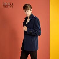 海一家男装2018冬季新品男士时尚潮流英伦学院风立领大衣