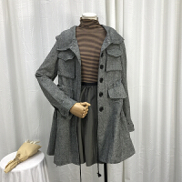 C1L@7 1.6斤秋冬韩版翻领单排扣女中长风衣外套