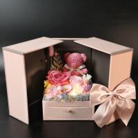 永生花礼盒小熊玫瑰花摆件粉色首饰盒保鲜花生日情人节礼物送女友惊喜的创意节日礼品