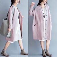 特大码女装棉衣女中长款韩版新款春装外套女胖mm200斤宽松开衫