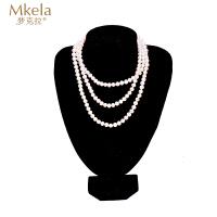 梦克拉 淡水珍珠长项链 情意绵绵 珍珠毛衣链多圈珍珠链一饰多戴女