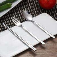 创意不锈钢304便携餐具筷子勺子套装可爱三件套学生叉子儿童筷盒