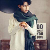 潮韩版男士围巾秋冬季个性情侣毛线针织百搭围巾男时尚简约年轻人