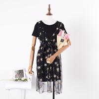 C*13 春季时尚气质纯色圆领打底裙+无袖V领网纱连衣裙两件套