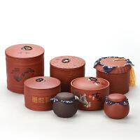 复古茶叶罐陶瓷小密封罐粗陶罐子茶紫砂茶具金属茶罐存茶罐茶叶盒