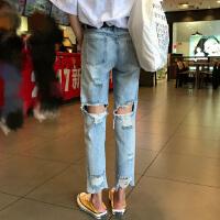 破洞牛仔裤女春秋新款韩版百搭水洗宽松显瘦直筒裤学生时尚九分裤