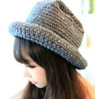 渔夫帽子女士针织帽可爱甜美 盆帽 卷边纯色毛线帽 韩版冬
