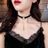 夏天配衣服的吊坠黑色锁骨链配饰颈绳脖子颈带女颈链项圈装饰品项链连衣裙夏天。